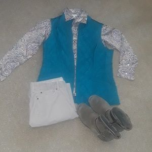 Talbots fall paisley button down shirt and vest.